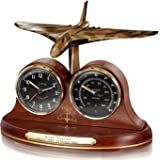 The Bradford Exchange - Avro Vulcan Bomber Desk Clock and Indoor Thermometer - With Cockpit Instrument Inspired Dials