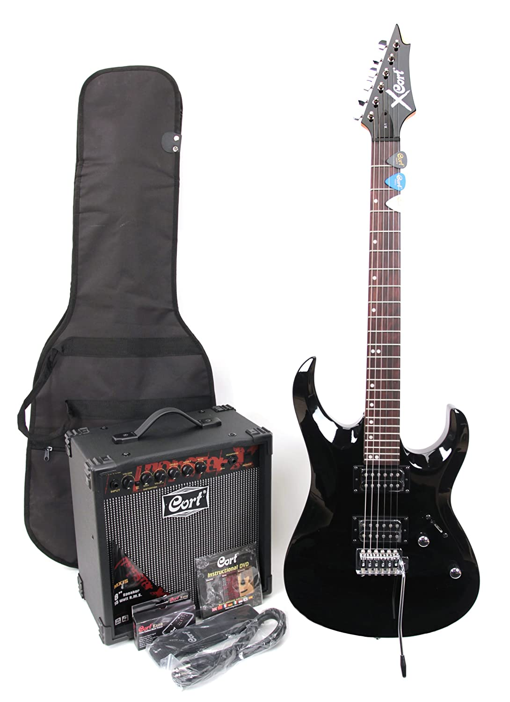 Cort X-1 - Guitarra eléctrica (calibre de cuerdas: 9-42, incluye amplificador de 15 W y accesorios), color negro: Amazon.es: Instrumentos musicales