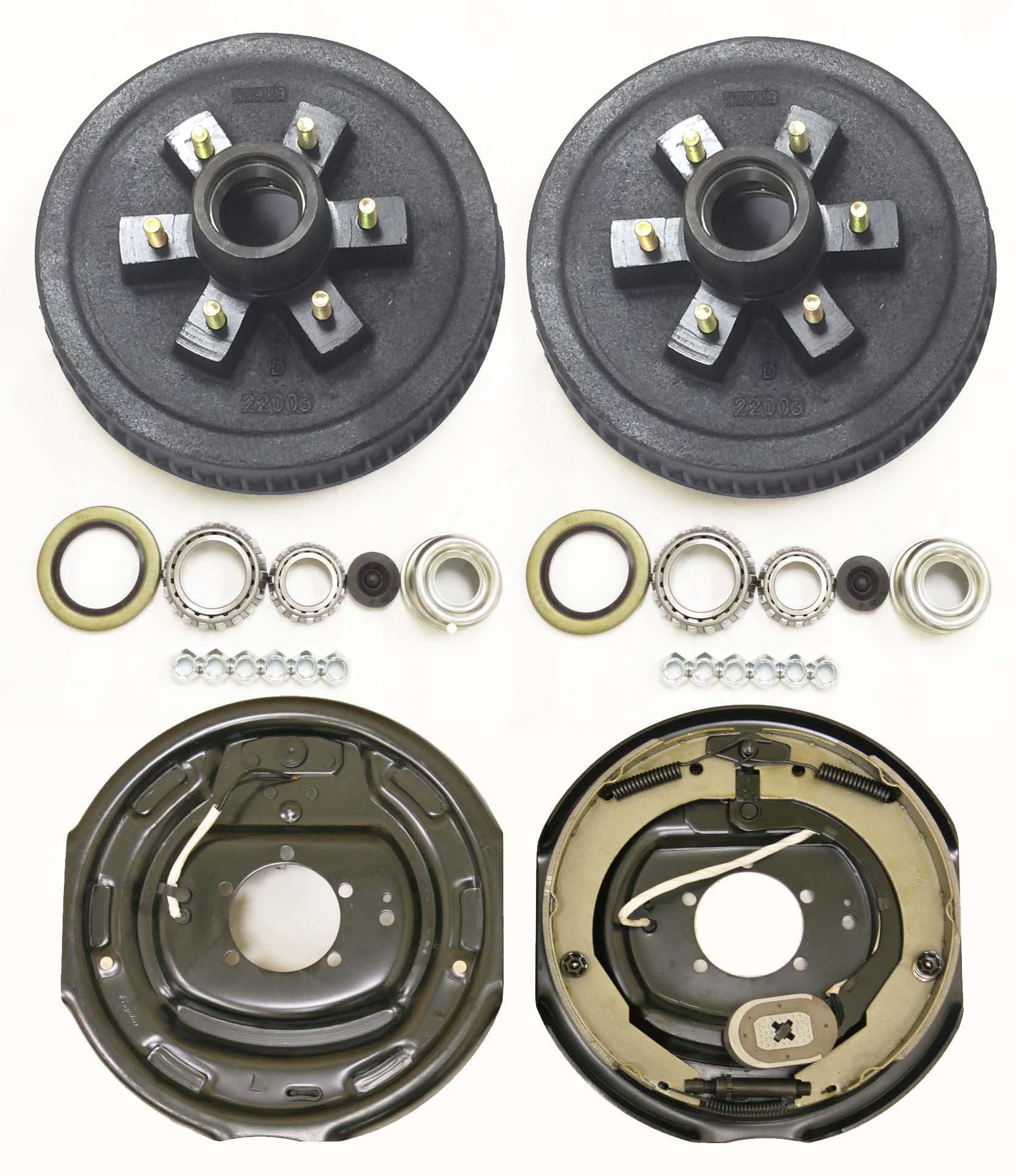 LIBRA Trailer 6 on 5.5'' B.C. Hub Drum Kits with 12''x2'' Electric Brakes for 5200-6000 Lbs Axle by LIBRA