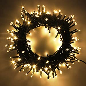 Indoor/Outdoor LED Christmas Lights on Dark Green Cable with 8 Light Effects, Low Voltage Fairy String Lights, Ideal for Festival Decoration, Garden, Xmas Tree, Room, Party, Wedding (600LEDs, Warm)