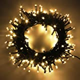 Indoor/Outdoor LED Christmas Lights on Dark Green Cable with 8 Light Effects, Low Voltage Fairy String Lights, Ideal for…