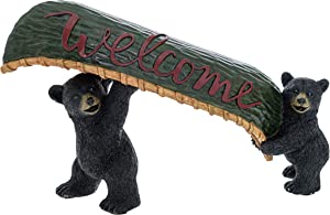 Pine Ridge Black Bear Canoe Wildlife Welcome Sign - Welcome Table Decor Bear Decorations for Cabin - Bear in Canoe Welcome Sign for Desk Rustic Bear Decor for The Home - Housewarming Gifts for Women
