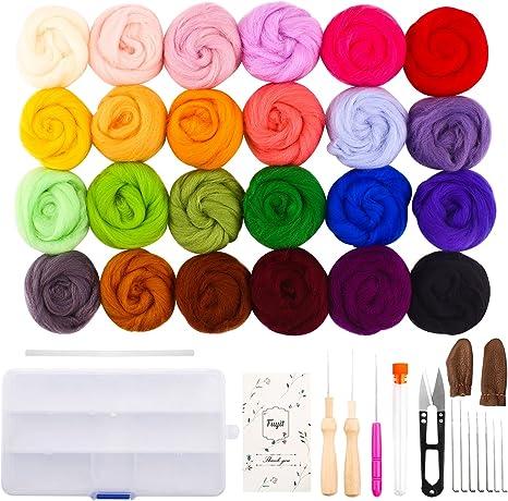 Felting Wool Supplies with 24 Colors Wool Roving Set and Felting Needles Foam Mat Wool Felt Mold Felting Craft Kits Wool Felt Tools Jupean Needle Felting Kit