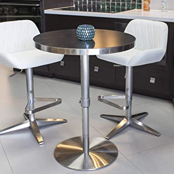 Adjustable Height Round Table.Mix Brushed Stainless Steel Round Wood Laminate Espresso Adjustable Height Swivel Bar Table With Pin Lock And Round Flat Slab Base