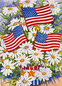 Covido Daisy Flowers American Garden Flag, Summer Fall Home Decorative House Yard Patriotic Decor Sign, Spring Autumn USA Outside Decorations July 4th Seasonal Outdoor Small Flag Double Sided 12 x 18
