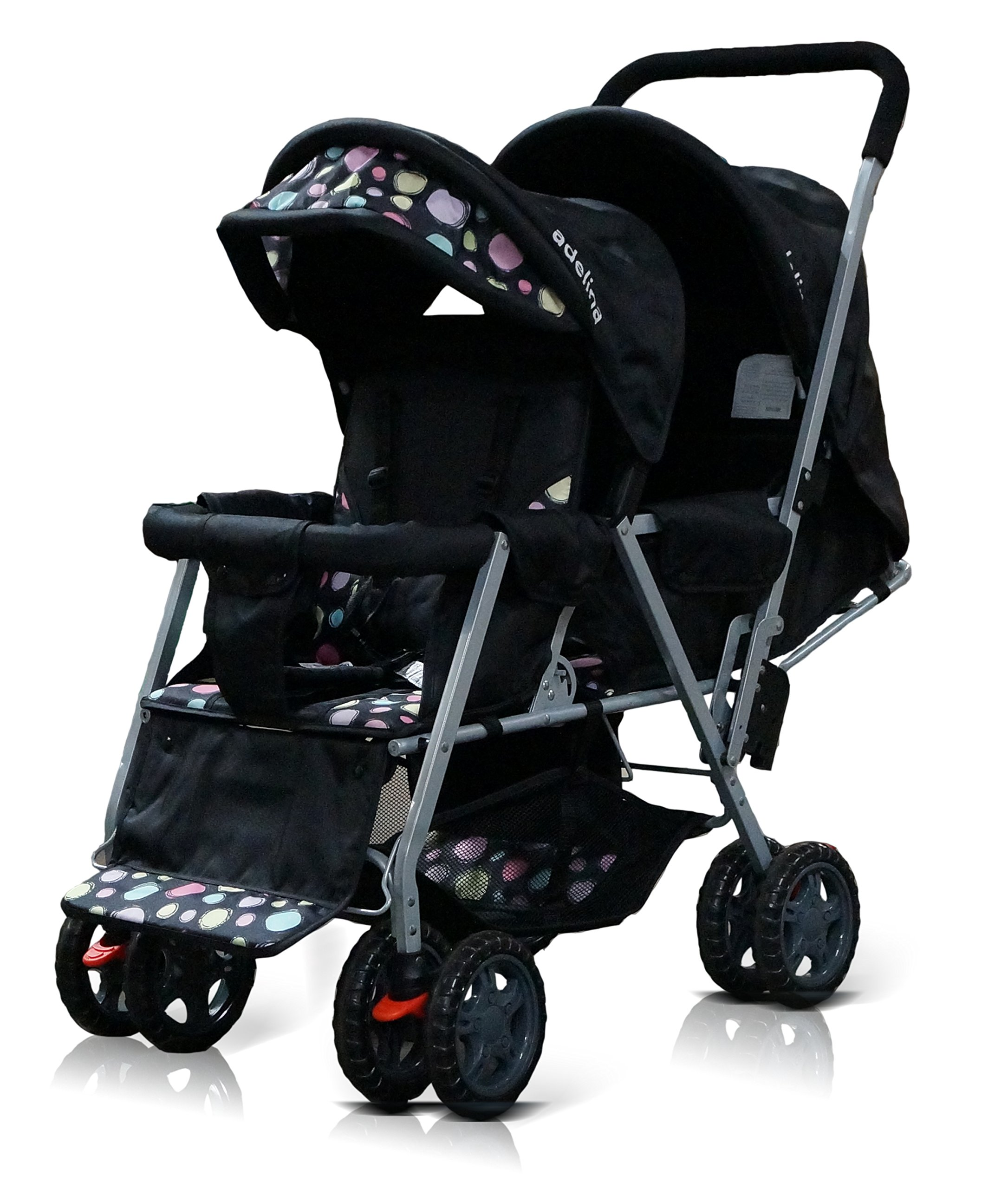 ADELINA Designer Double Stroller, Black