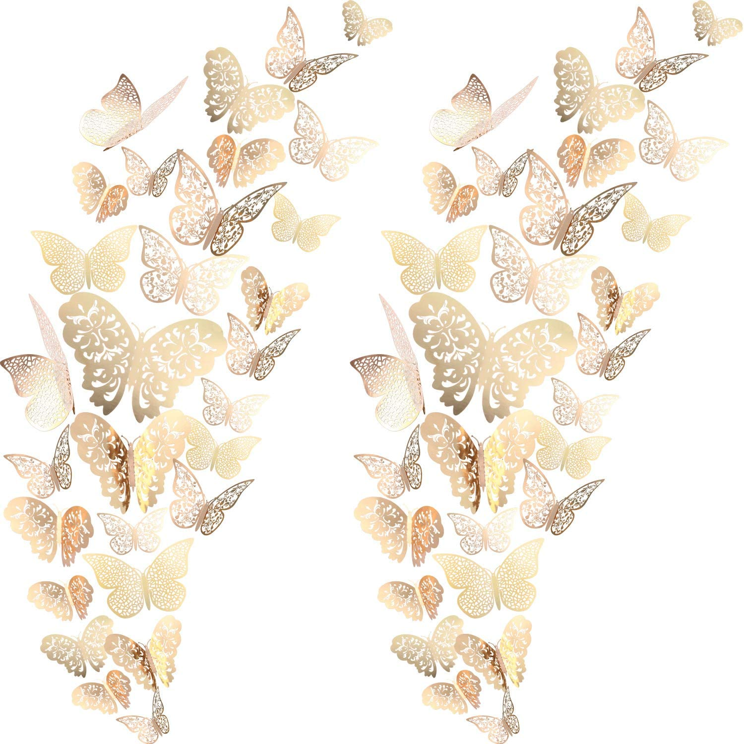 72 Pieces 3D Butterfly Wall Decals Sticker Wall Decal Decor Art Decorations Sticker Set 3 Sizes for Room Home Nursery Classroom Offices Kids Girl Boy Bedroom Bathroom Living Room Decor(Champagne Gold)
