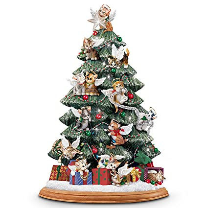 cat lovers illuminated tabletop christmas tree purr fect holiday by the bradford exchange