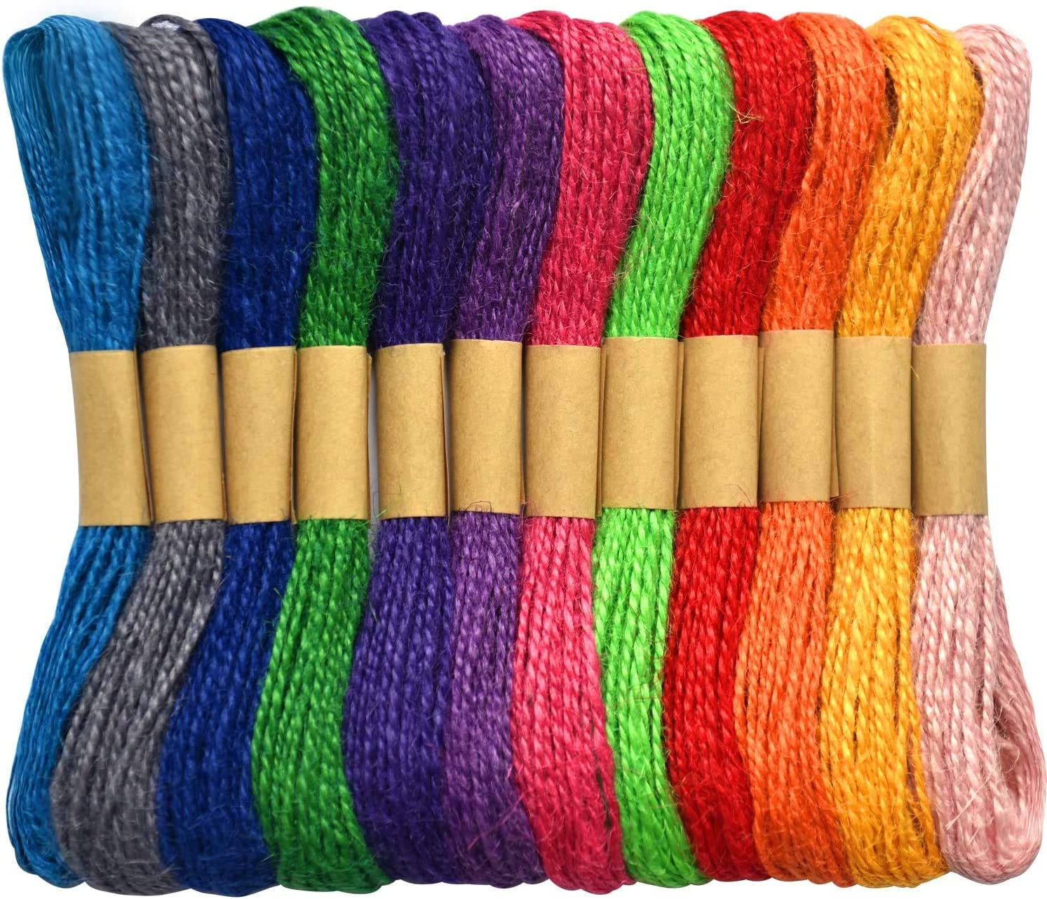DIY Crafts Gift Package 6.6ft Each Color Gift Wrapping Twine 12 Pack Picture Display and Embellishments Auch Jute Twine Natural Jute String Colorful Hemp Twine String for Artworks