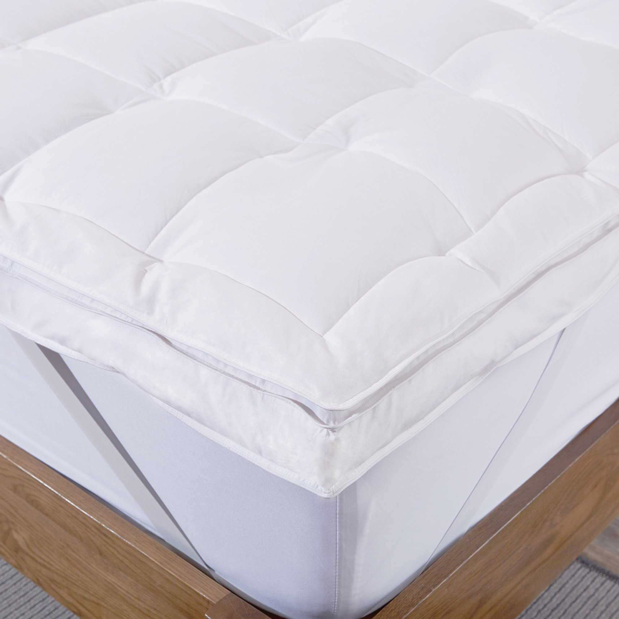 puredown Premium Natural White Goose Down Feather Overfilled Bed Topper 100% Cotton Fabric Mattress Pad Queen Down by puredown (Image #4)