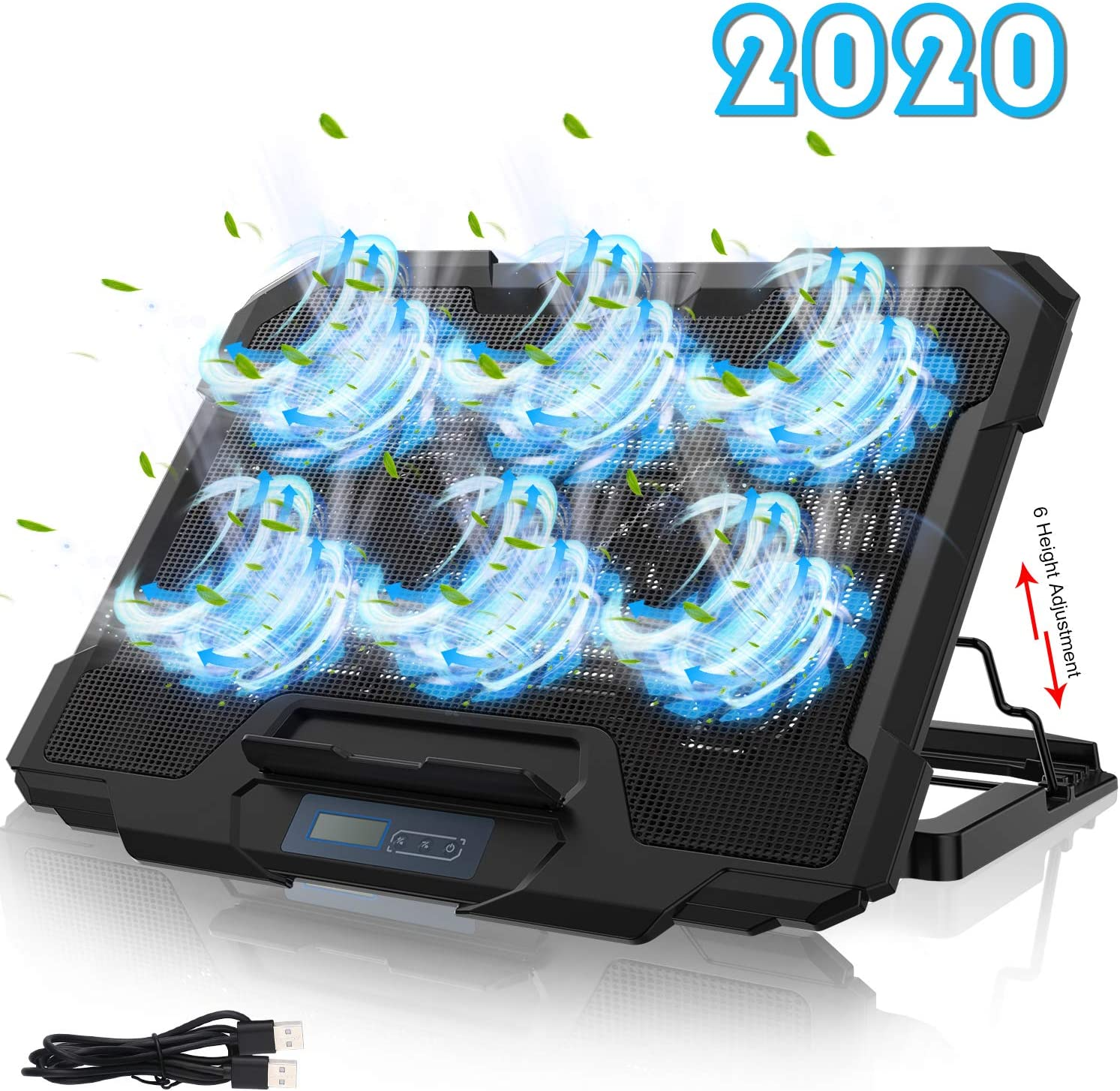 Dual USB Port Blue LED Light Compatible with 17inch Notebook Laptop PC Laptop Cooling Pad Stand Wind Speed Adjustable Notebook Cooler Cooling Pad