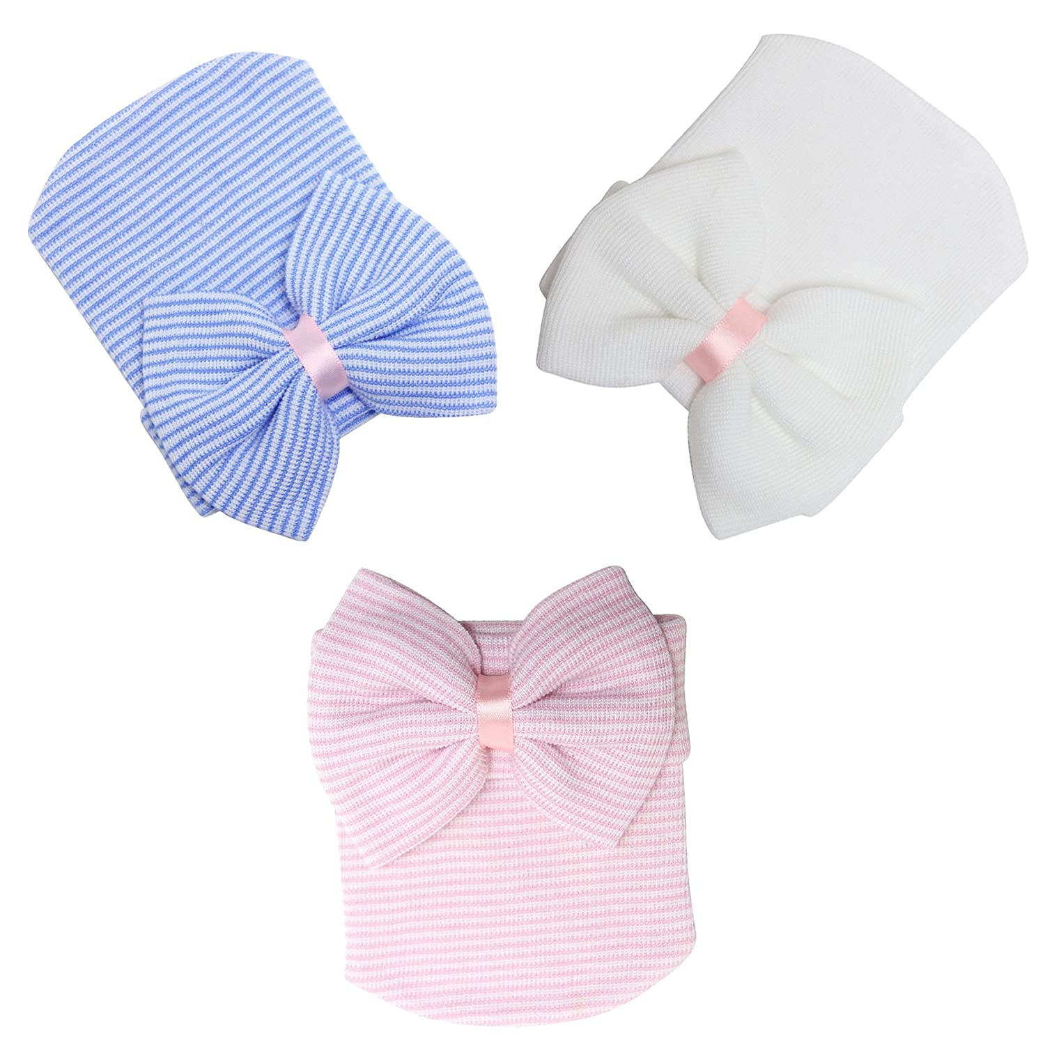 TRADERPLUS 3 Pieces Newborn Baby Hat Cap with Big Bow Nursery Beanie Gift