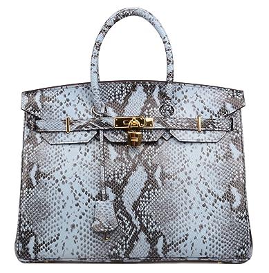 1143dfb4e18 Ainifeel Women's Snakeskin Embossed Patent Leather Padlock Handbags And  Purse (Grey blue-30cm)