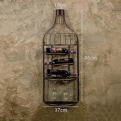 Bar de estilo industrial retro decorado estante de vino de hierro forjado armario de vino creativo