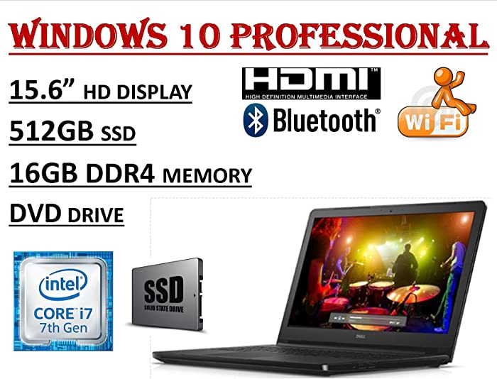 "Dell Inspiron 15 5000 Series 5566, 15.6"" HD Business Laptop ( 2018 Edition ) - Intel Core i7-7500U Processor - 16GB DDR4 RAM - 512GB SSD - DVDRW - WiFi+Bluetooth - Windows 10 Professional"