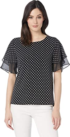 c7f4c43e85088 CeCe Women s Tiered Ruffle Sleeve Refined Pindot Top Rich Black X-Small