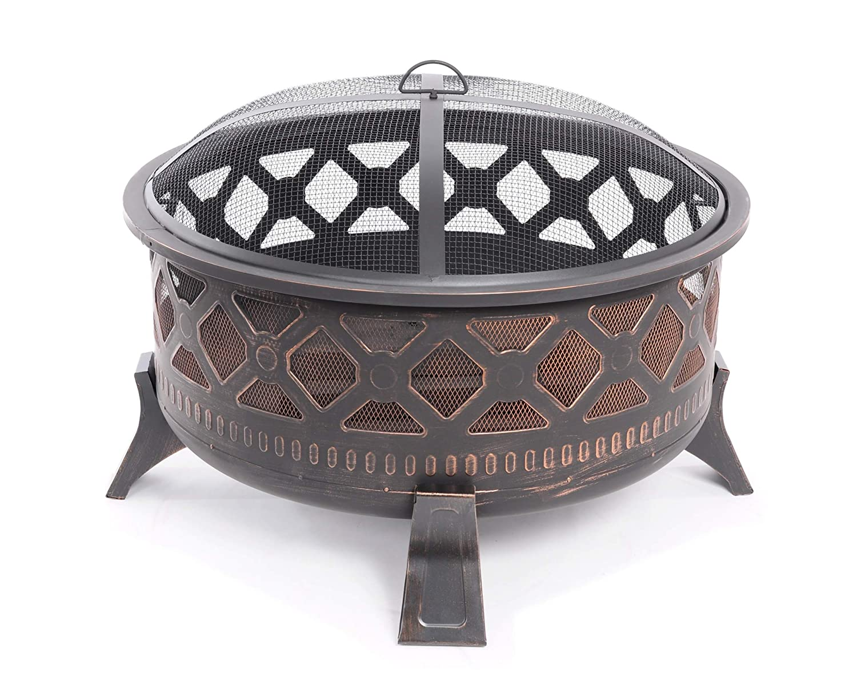 Feuerstelle 78 cm Stahl rund Feuerschale Antik Feuerkorb mit Funkenhaube und Sch/ürhaken gratis