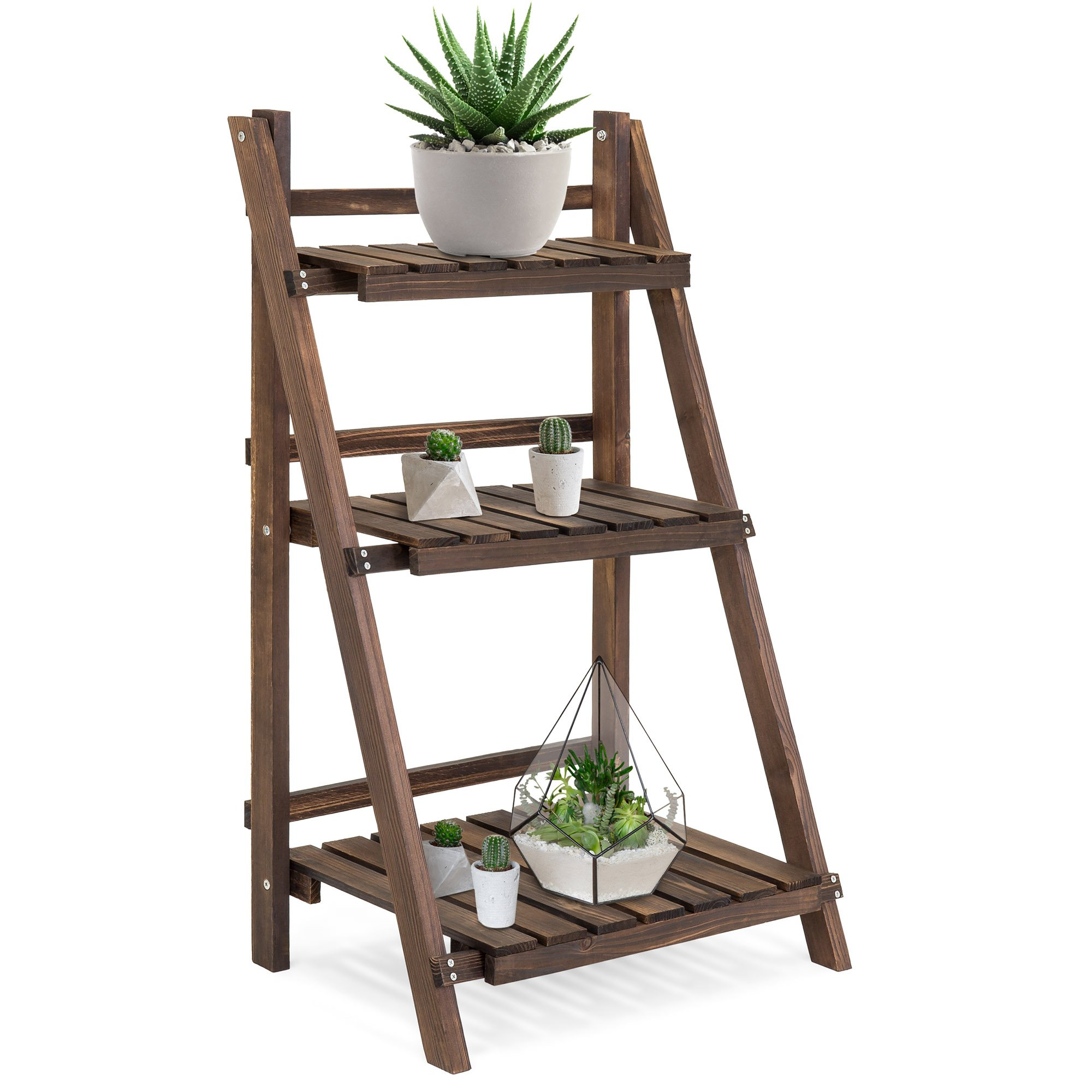 Best Choice Products 3-Tier Indoor Outdoor Portable Folding Multi-Purpose Rustic Wood Flower Plant Pot Display Stand