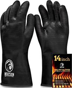 Extreme Heat Resistant Gloves for Grill BBQ - High Temperature Fire Pit Grill Gloves - Barbecue Cooking, Smoker, Oven, Fryer, Grilling - Waterproof, Fireproof, Oil Resistant - Neoprene Coating