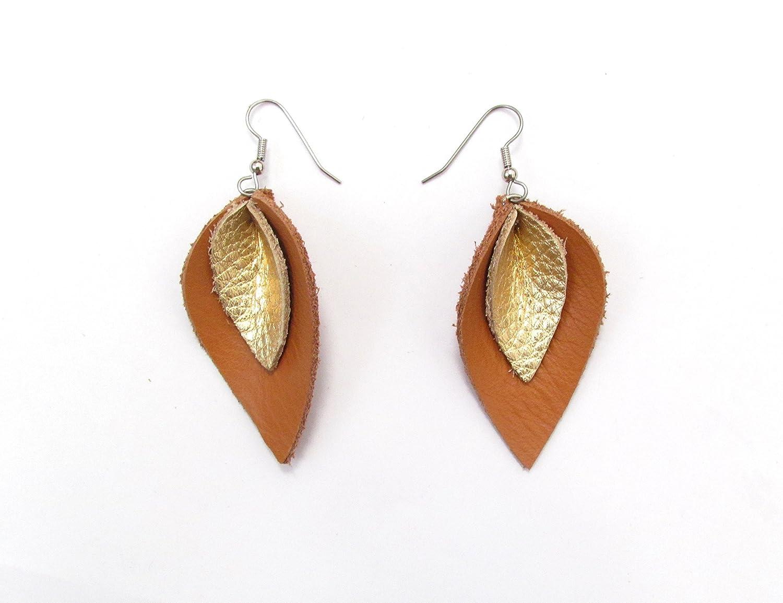 Tan and Gold-tone Leather Petal Earrings, Teardrop
