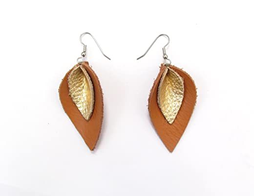 Tan and Gold-tone Leather Petal Earrings, Teardrop