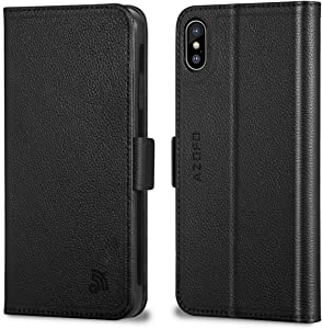 AZOFO iPhone Xs Max Wallet Case, iPhone Xs Max Case, Genuine Leather Case, Flip Cover Folio Book Style, Card Holder Slots, Magnetic Clousure, Kickstand Compatible iPhone Xs Max, Black