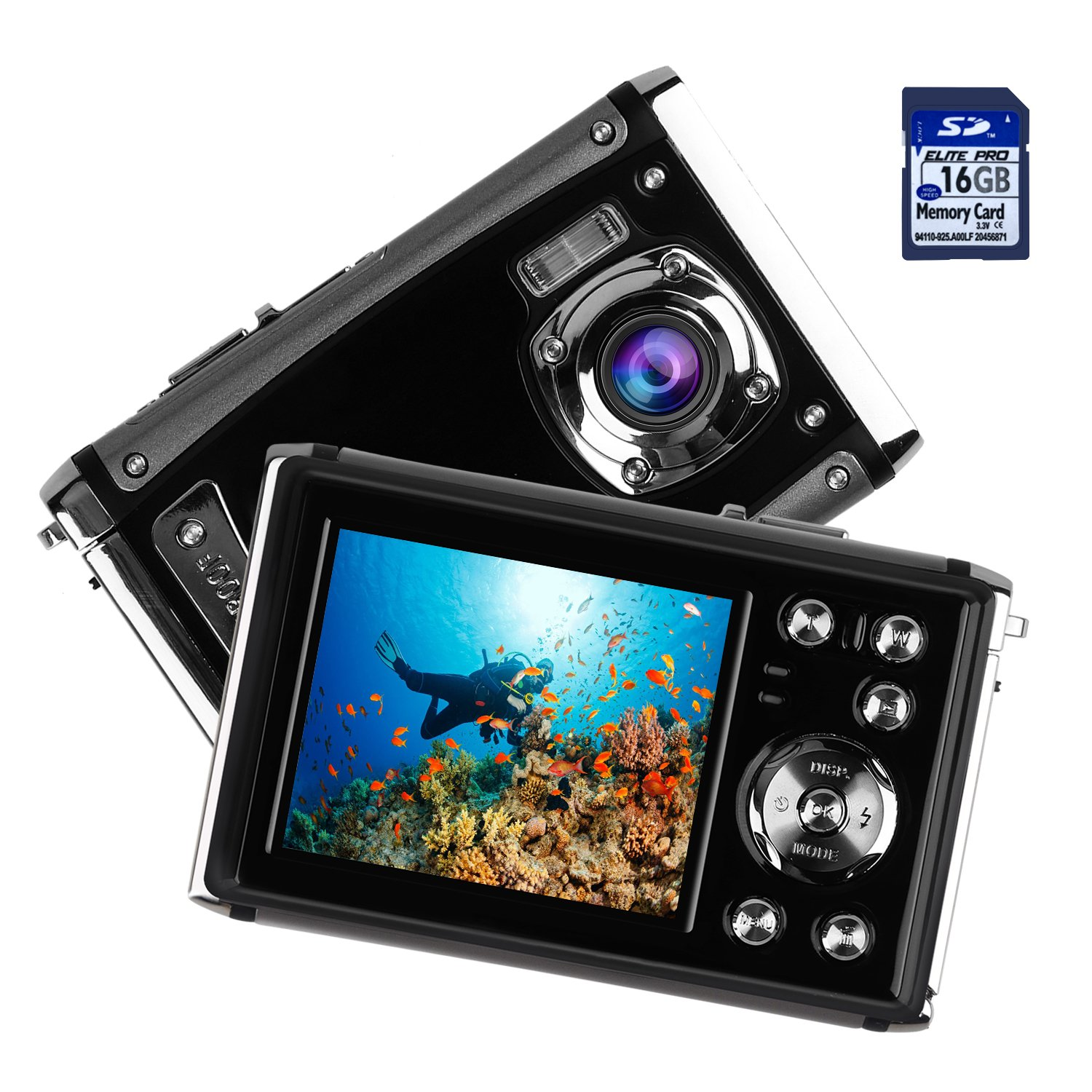 Kids Waterproof Camera, Digital Underwater Camera for Children, 16MP 1080P HD Action Camera with 3M Waterproof, 2.4'' LCD Screen, 8x Digital Zoom, Flash, and Rechargeable Battery(16G SD Card Included)