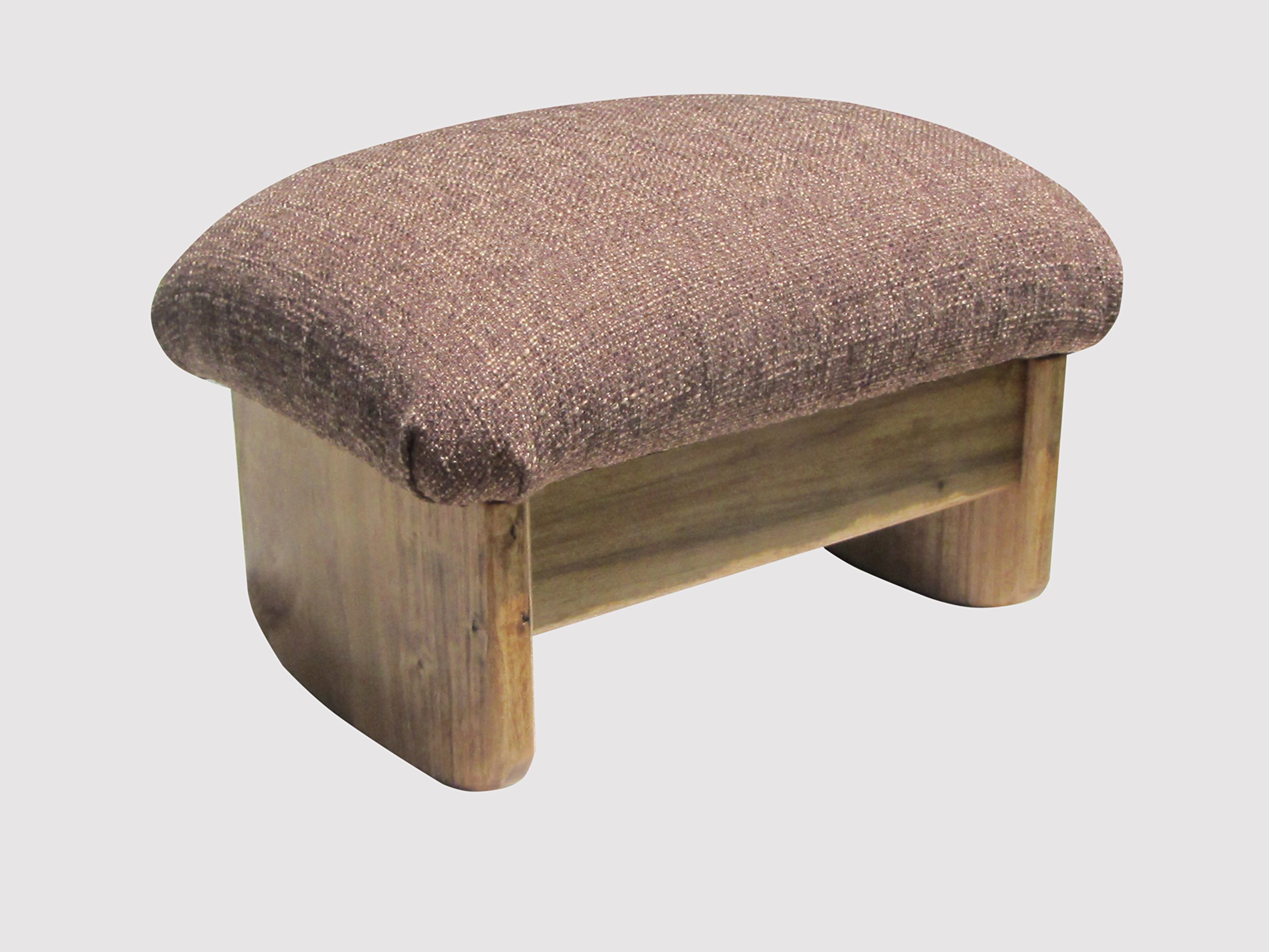 Rocking Padded Foot Stool, Cocoa Brown, 9'' Tall, Maple Stain (Made in the USA)