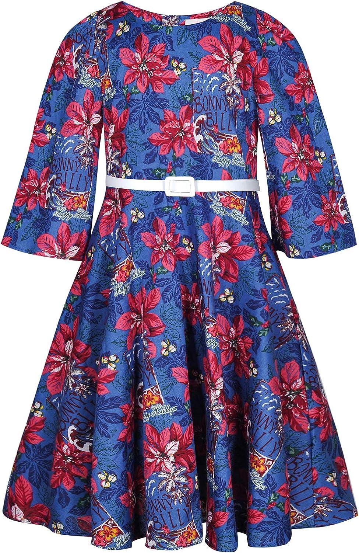 BONNY BILLY Vestiti Bambina Cerimonia Eleganti Vintage Floreali con Cintura