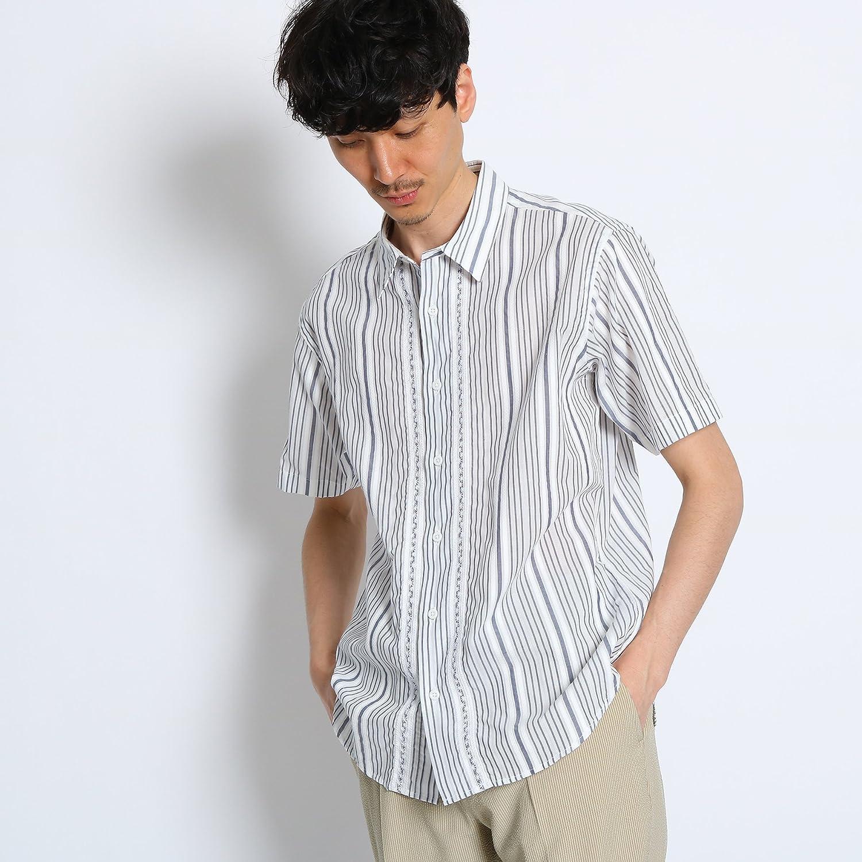 (タケオキクチ) TAKEO KIKUCHI リーフステッチストライプシャツ [ メンズ シャツ ] 07084061 B07CN8JQZ6  ネイビー(393) 02(M)