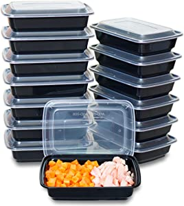 CTC 16oz Small Food Storage Organization Set With Lid For Snack 50 Pack, Freezer Safe Meal Prep Container And Food Tray, Dishwasher Microwave Safe Rice Plate, Kids Lunch Box, BPA Free Women Bento Box