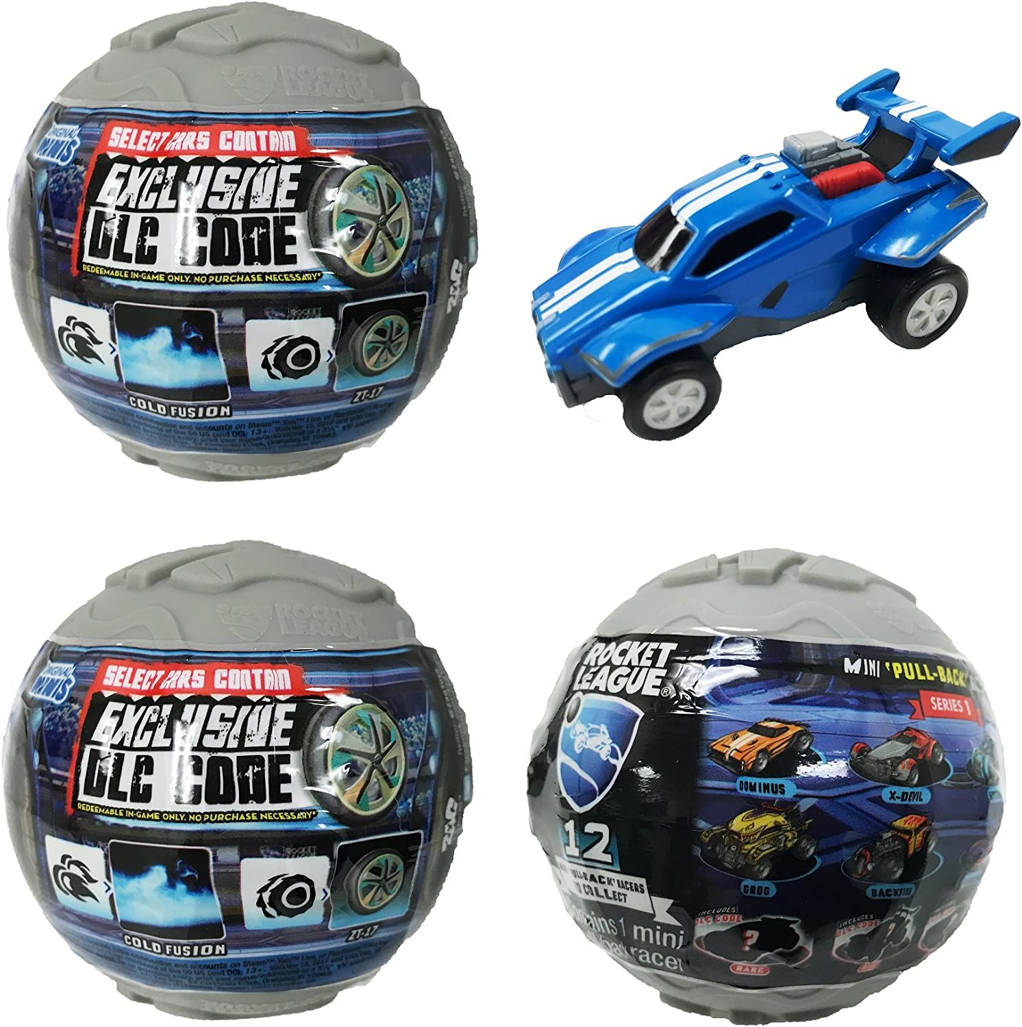 Amazon Com Rocket League Mini Pull Back Racer Car Mystery Ball Set Of 3 With Possible Dlc Code Toys Games