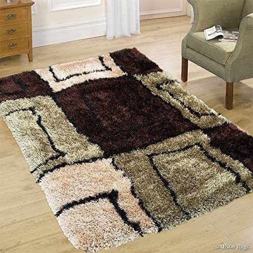 Allstar 8×11 Chocolate Modern and Contemporary Hand-Tufted Rectangular Shag Accent Rug with Sage Green and Ivory Geometric Square Design 7 6 x 10 4