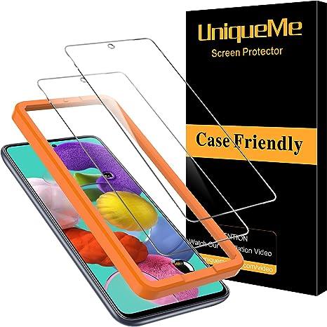 [2 Pack] UniqueMe Cristal Templado para Samsung Galaxy A51, Protector de Pantalla [9H Dureza ] [Sin Burbujas] HD Film Vidrio Templado para Samsung ...