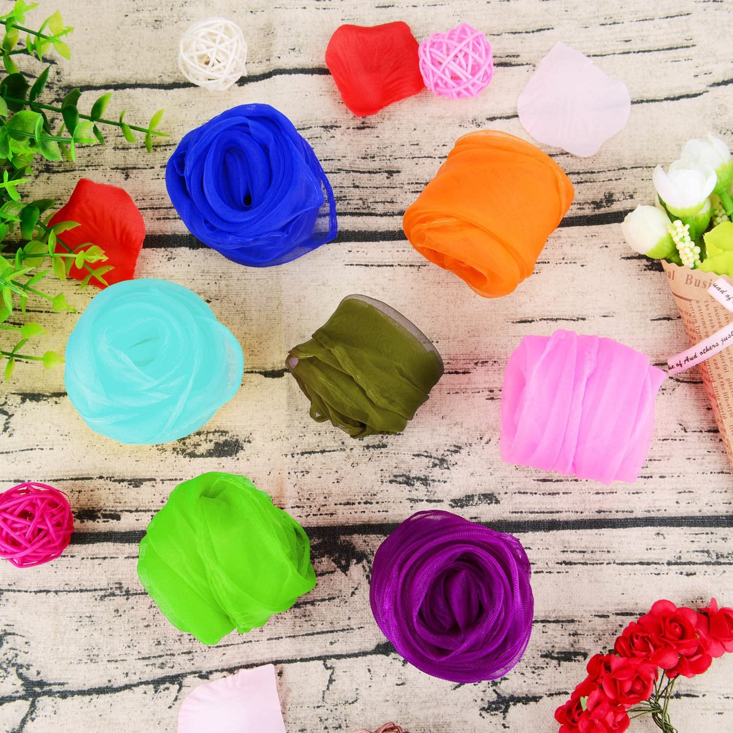 Shappy 28 Pieces Dance Scarves Square Juggling Scarf Magic Scarves, 24 by 24 Inches (14 Colors): Toys & Games