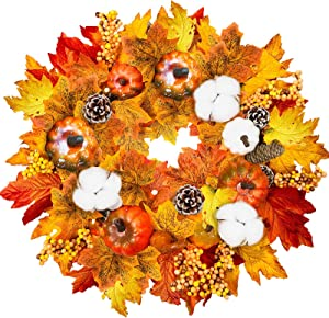 "TURNMEON 15"" Fall Wreath for Front Door with Pumpkins Pinecone Berry Cotton Artificial Maples Leaves Wreath Autumns Harvest Fall Thanksgivings Decoration Home Party Indoor Outdoor Decor"