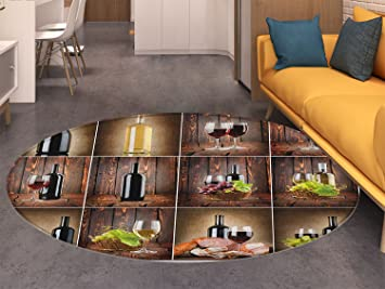 Amazon Com Wine Round Area Rug Wine Themed Collage On Wooden