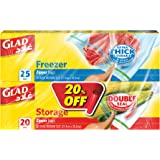 Glad Zipper Food Storage Freezer Bags 25 Count with Zipper Food Storage Bags, 20 Count (Pack of 1)