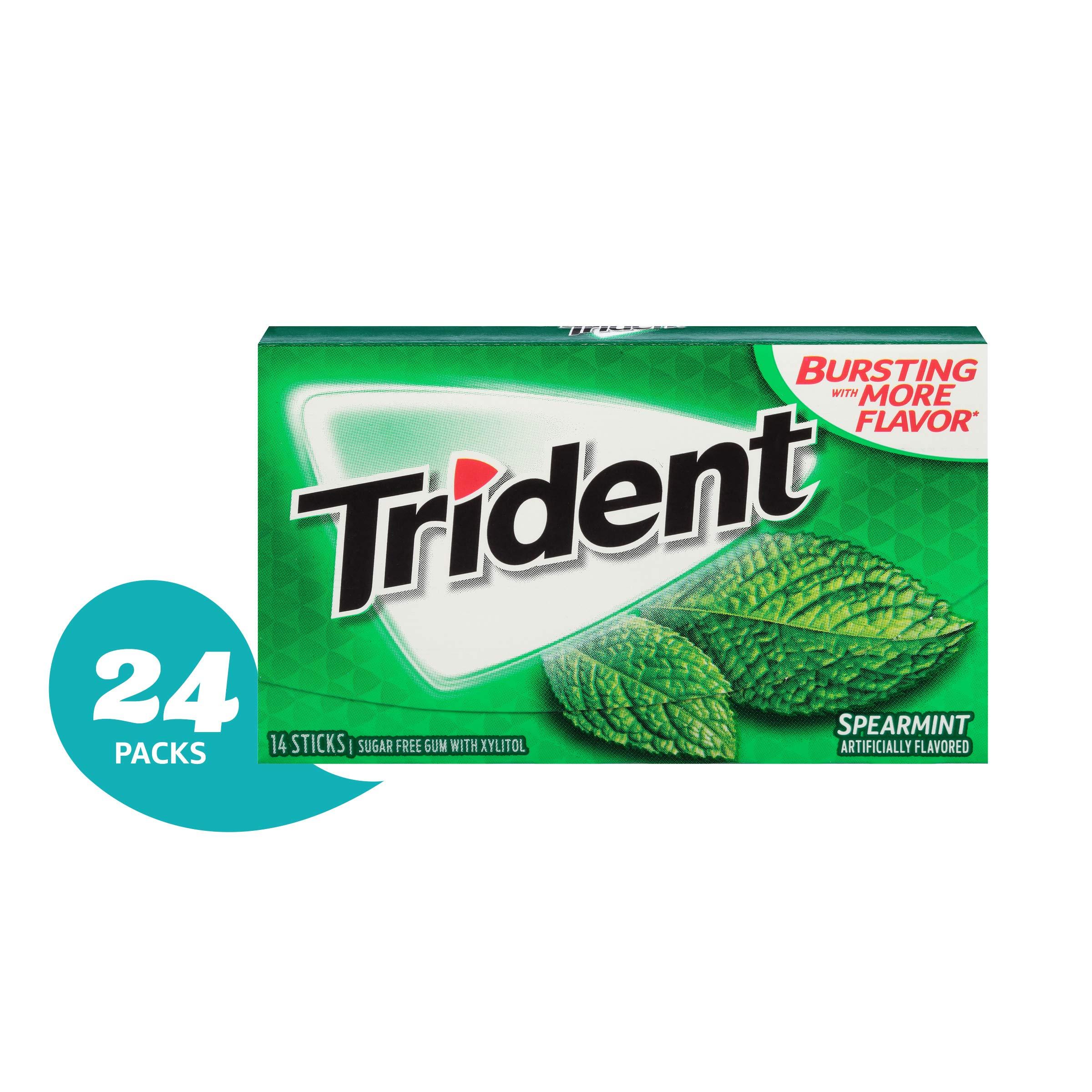 Trident Spearmint Sugar Free Gum - 24 Pack (336Piece Total)