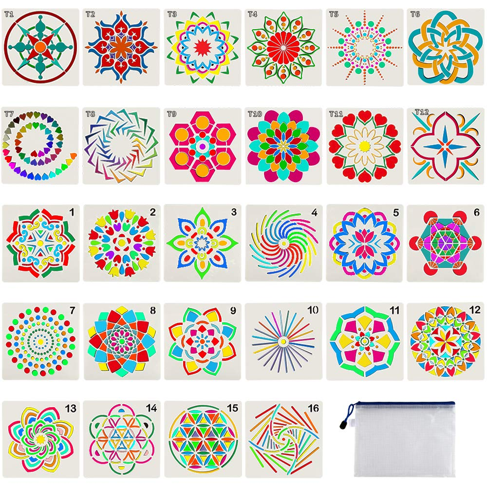 28 Pack Mandala Dot Painting Templates Stencils for DIY Painting Art Projects ... by Augshy