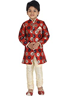 2810e5ec62 KLAUD ZEE Kids Indian Ethnic Bollywood Style Festive and Party Wear  Sherwani and Breeches Set for