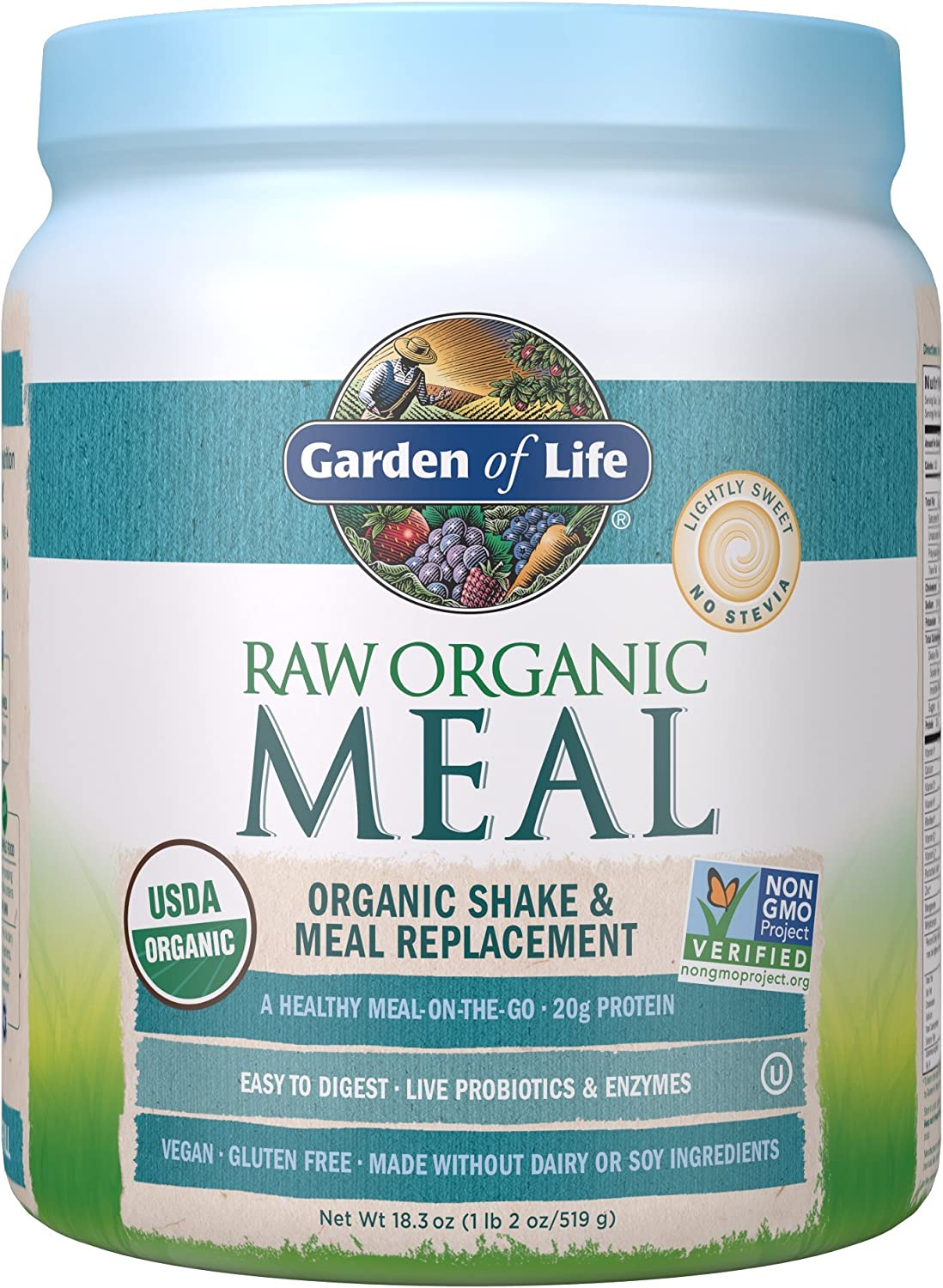 Garden of Life Raw Organic Meal Replacement Powder - Lightly Sweet, 14 Servings, 20g Plant Based Protein Powder, Superfoods, Greens, Vitamins Minerals & Probiotics, All-in-One Meal Replacement Shake: Health & Personal Care