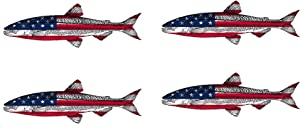 Rogue River Tactical 4X Trout Fish USA Flag Sticker Decal Fishing Bumper Sticker Fish Patriotic United Auto Decal Car Truck Boat RV Real Life Rod Tackle Box