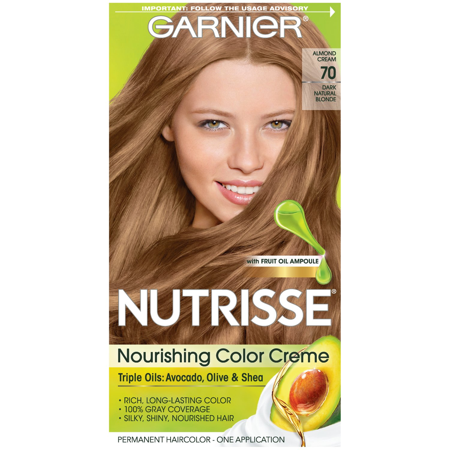Garnier Nutrisse Nourishing Hair Color Creme, 70 Dark Natural Blonde (Almond Creme) (Packaging May Vary)