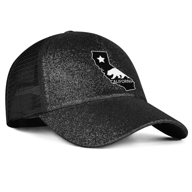 Sale23 California Bear Map DesignWomensMeshBallPonytail Messy Cap Adjustable SnapbackSun Hat
