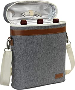 3 Bottle Insulated Wine Tote Cooler Bag, Portable Wine Carrier with Corkscrew Opener and Shoulder Strap for Beach Travel Picnic, Unique Wine Carrier for Wine Lover Gifts Grey