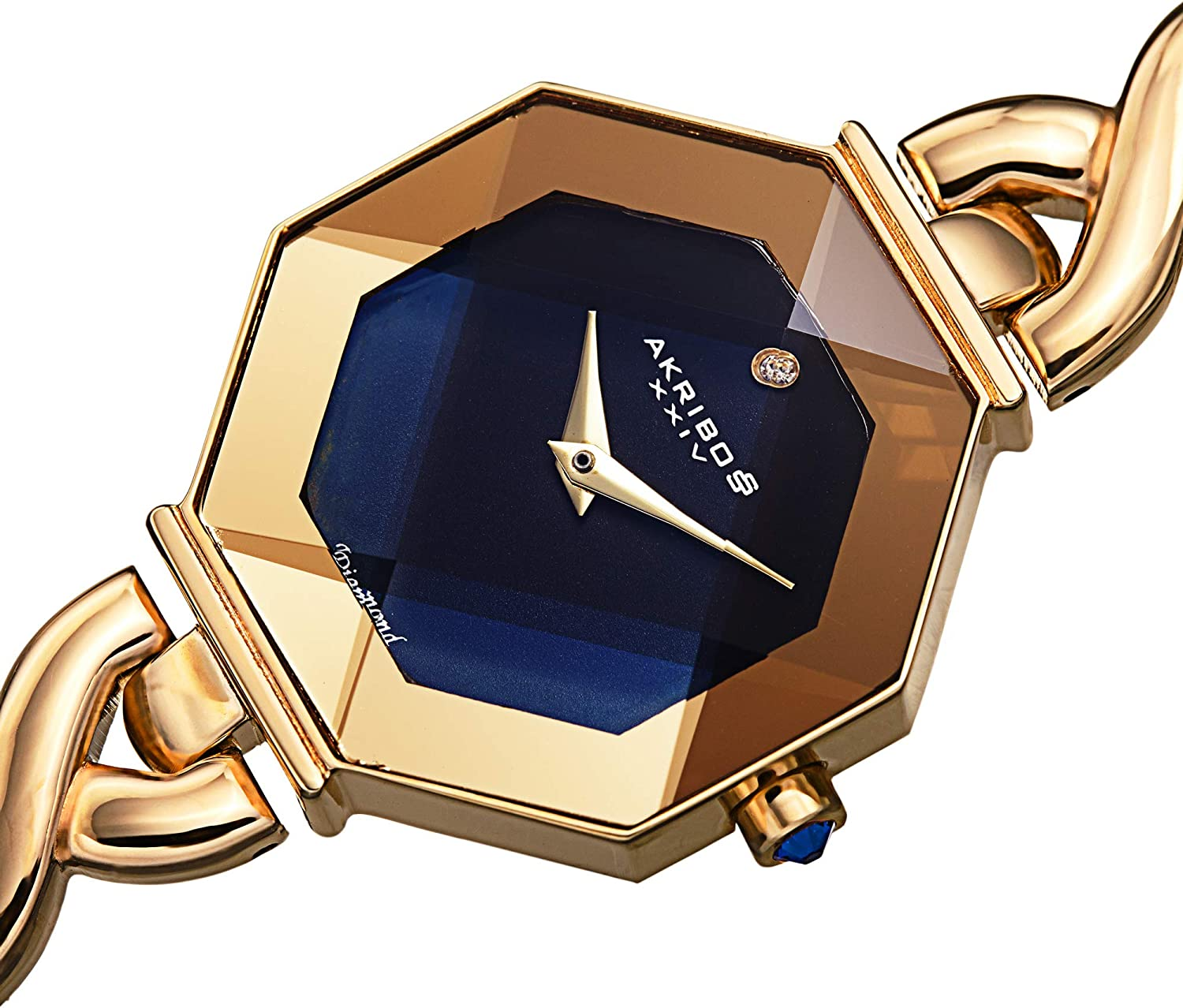 Akribos Octagonal Case Faceted Crystal Lens - Women's Watch - with Diamond Marker Adorned with Twisted Link Bracelet - AK1086 Yellow Gold on Blue Dial