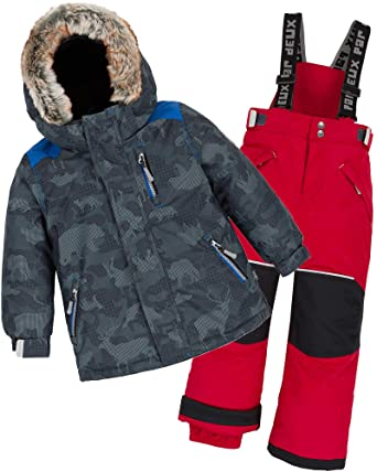 1aa1c86ca Amazon.com  Deux par Deux Boys  2-Piece Snowsuit Camo Animo Red ...