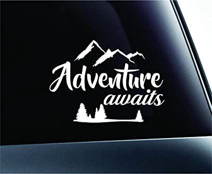 c753a47f27b18 Adventure Awaits Arrows Journey Nature Life Computer Laptop Symbol Decal  Family Love Car Truck Sticker Window (White)