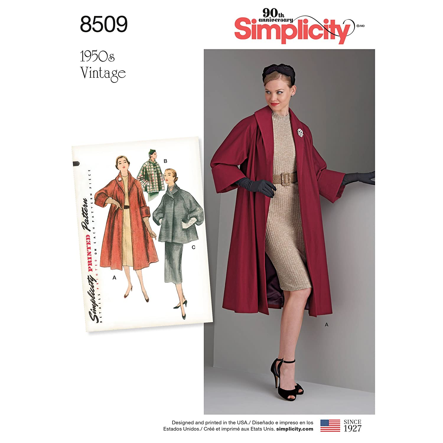 1950s Fabrics & Colors in Fashion Simplicity Creative Patterns US8509R5 Sewing Tops/Vest/Jkts/Coats R5 (14-16-18-20-22) $10.01 AT vintagedancer.com